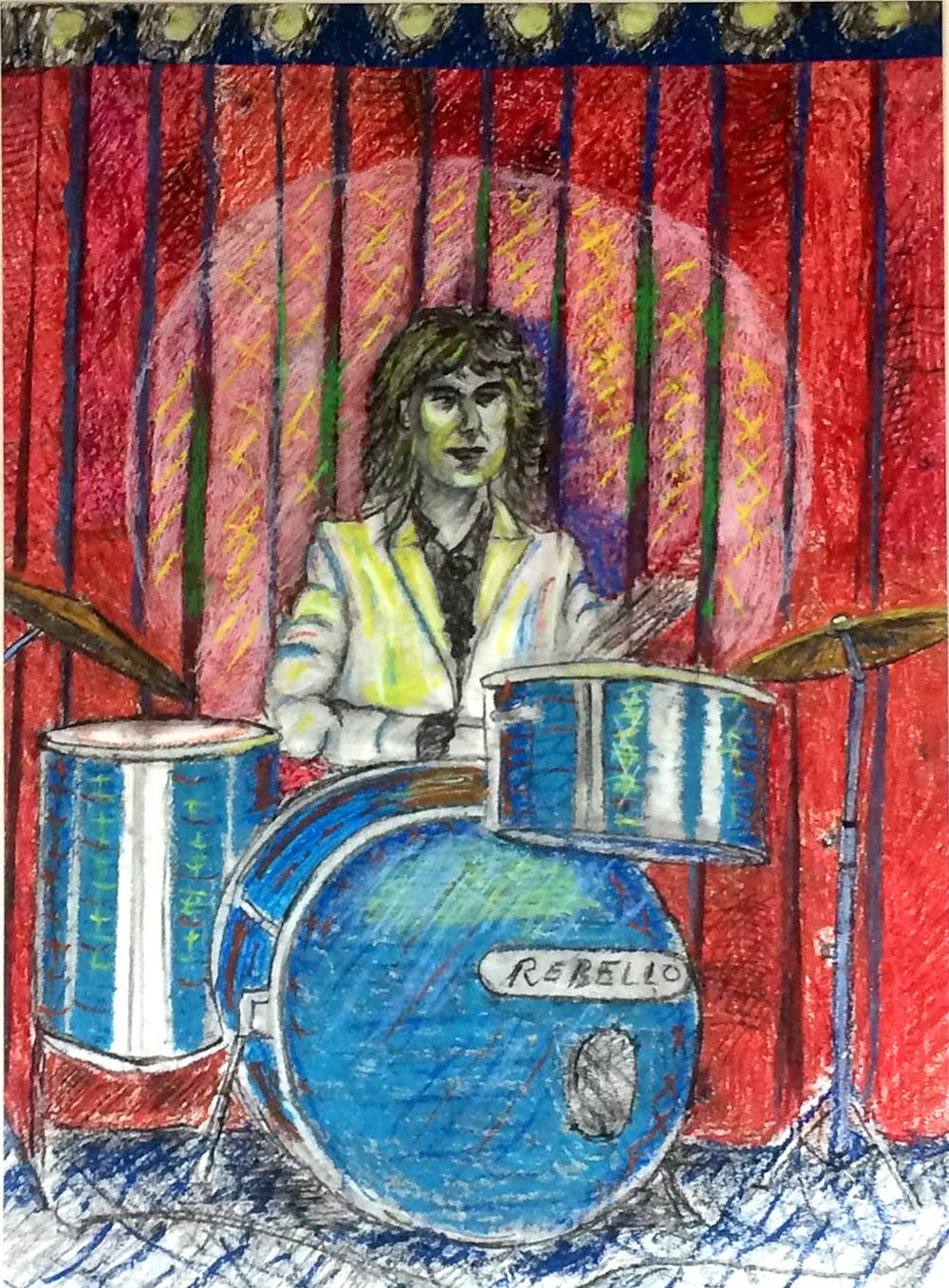 Piers Butler artisit - Michael drummer. drawing